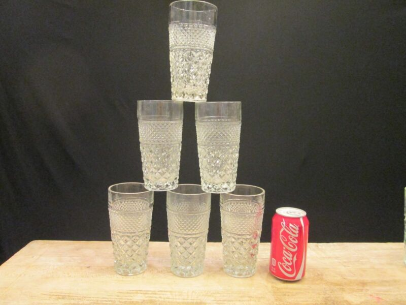 "A: 6x Anchor Hocking WEXFORD PATTERN Vintage 6.25"" tall Ice Teas Glasses Clear"