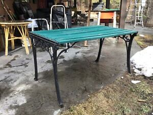 Cast-iron and wood Garden table $35.00 OBO