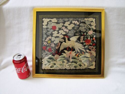 Antique Chinese Buzi Qung Silk Embroidery Badge Rank Officer Badge.