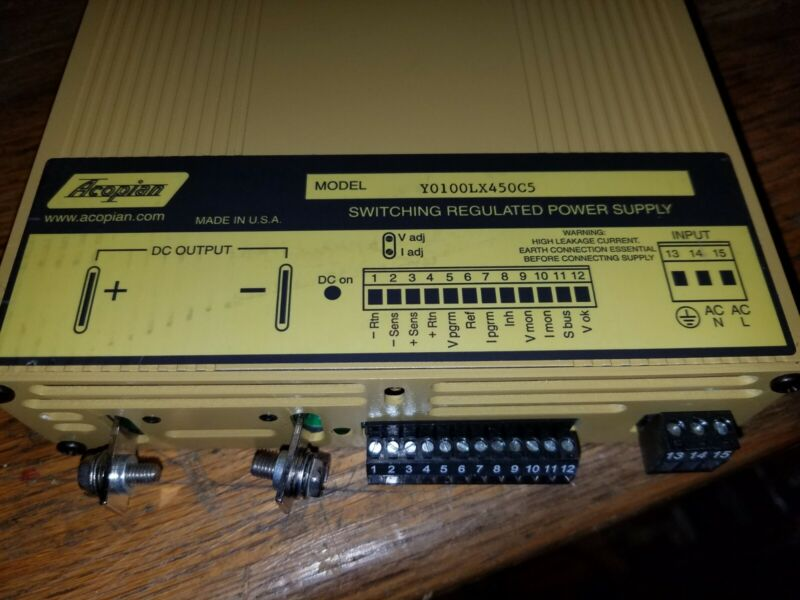 Acopian 0-100VDC 4.5A 450W programmable benchtop DC power supply