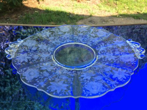 Cambridge Wildflower Cake Plate 2 Hdld 13.5 inches #3900/35 Elegant Depression