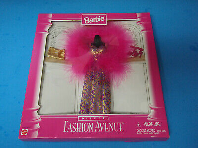 NRFB 1996 Barbie Deluxe Fashion Avenue Collection Pink Feather Dress #14307 NEW