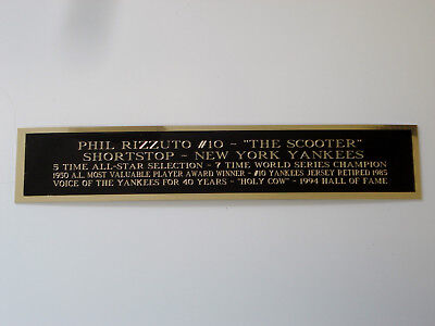 Phil Rizzuto Yankees Nameplate For An Autographed Baseball Bat Case 1.25 X 6