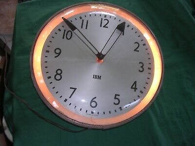 RARE LIGHTED  RING Vintage IBM Wall Clock 50's  Industrial 15inch