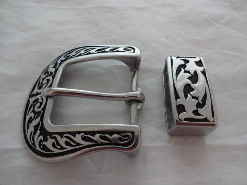 """Jeremiah Watt Traditional Floral Belt Buckle Keeper Loop 1 1/2"""" Horse Black Tack"""