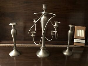 Bombay Pewter Candelabra and 2 Candlestick Holders with candles