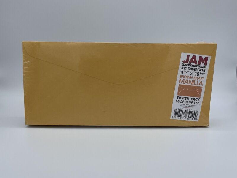JAM PAPER #11 Recycled Envelopes 4 1/2 x 10 3/8 Brown Kraft Manila Paper 50/Pack