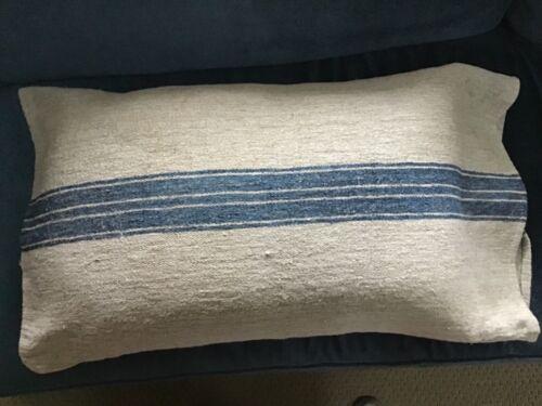 1890 German handwoven linen/hemp grain sack/blue jeans blue stripe Pillow Size