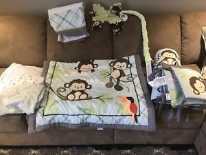 Baby crib bedding w mobile and 2 extra sheets