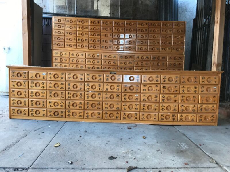 Large 3 Piece Chinese Apothecary Medicine Herbal Cabinet 154 Drawer