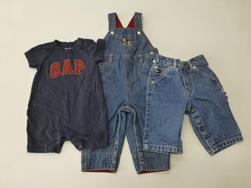 3 Piece Lot Baby Boys Size 3-6m Vintage Gymboree Overalls Tommy Jeans Gap Romper