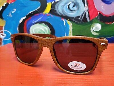 Sunglasses Wayfarer Style Bacardi Rum Wooden Grain Look NEW Summer Fun (Wooden Wayfarer Style Sunglasses)