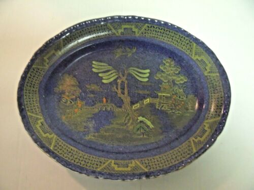 English Lustre Blue Willow Footed Bowl