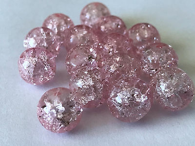 50 Pcs 10Mm Pink Crack Bead Glass Round Spacer Beads Jewelry Crackle Craft 2B