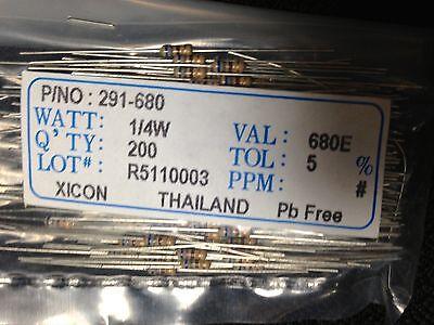 680 Ohms 5 Tol. 14w Xicon Carbon Film Resistors 200 Pieces Pn 291 Val 680e