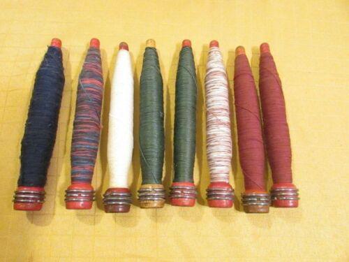 "Set of 8 Vintage Wooden Thread Spools - 8"" with Thread; Spool Bobbins"