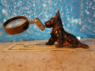 Toy Magnifying Glass (ANTIQUE HUBLEY TERRIER DOG CAST IRON DESK MAGNIFYING GLASS TOY Extremely)