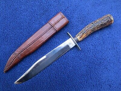 ANTIQUE 19TH CENTURY BOWIE HUNTING KNIFE AND SHEATH JOSIAH BARNES SHEFFIELD