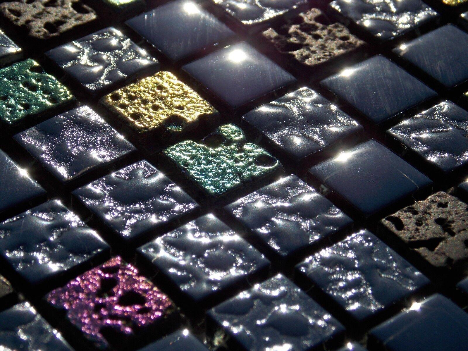 Glasmosaik naturstein marmor fliesen schwarz gr n pink gold perlmutt mosaik 8mm eur 13 95 - Mosaik fliesen grun ...