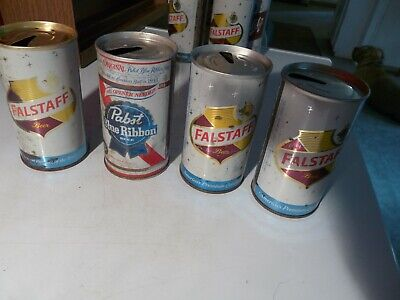 1 Pabst Blue Ribbon Beer Can & 3 Flagstaff Pull Tab Cans 12oz Vintage PBR