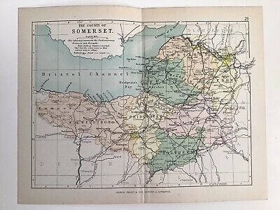 SOMERSET c1886 Antique County Map Philip Railways Parliamentary Boroughs Atlas