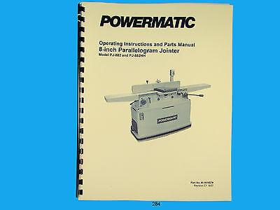 Powermatic Model Pj-882hh 8 Parallelogram Jointer Instruct Parts Manual 284