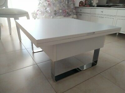 Tavolo Tavolino Trasformabile Saliscendi Bianco
