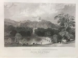 1844 Antique Print; Belvoir Castle, Leicestershire, after Thomas Allom
