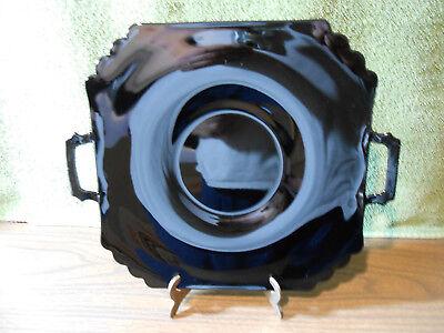 "Vtg 11 1/2""Handled Black Amethyst Square Serving Platter/Plate Scalloped Corners"