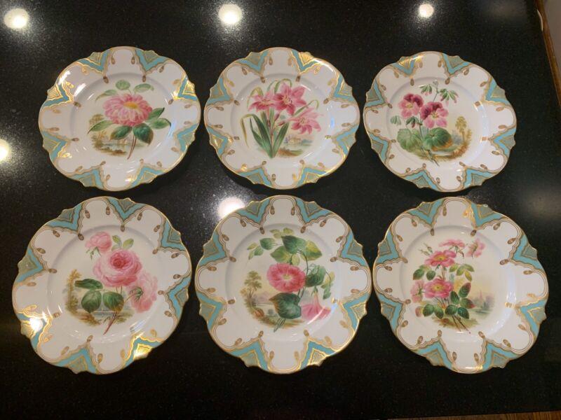 6 Antique English Porcelain Plates Hand Painted Pink Flowers Landscapes c1830s