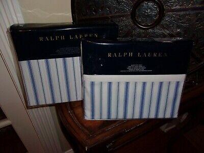 NIP Ralph Lauren Dorsey Jobs Lane Blue Stripe Queen Fitted & Flat Sheets 2pc