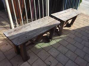 2 Rustic Old Jarrah Outdoor Benches Beckenham Gosnells Area Preview