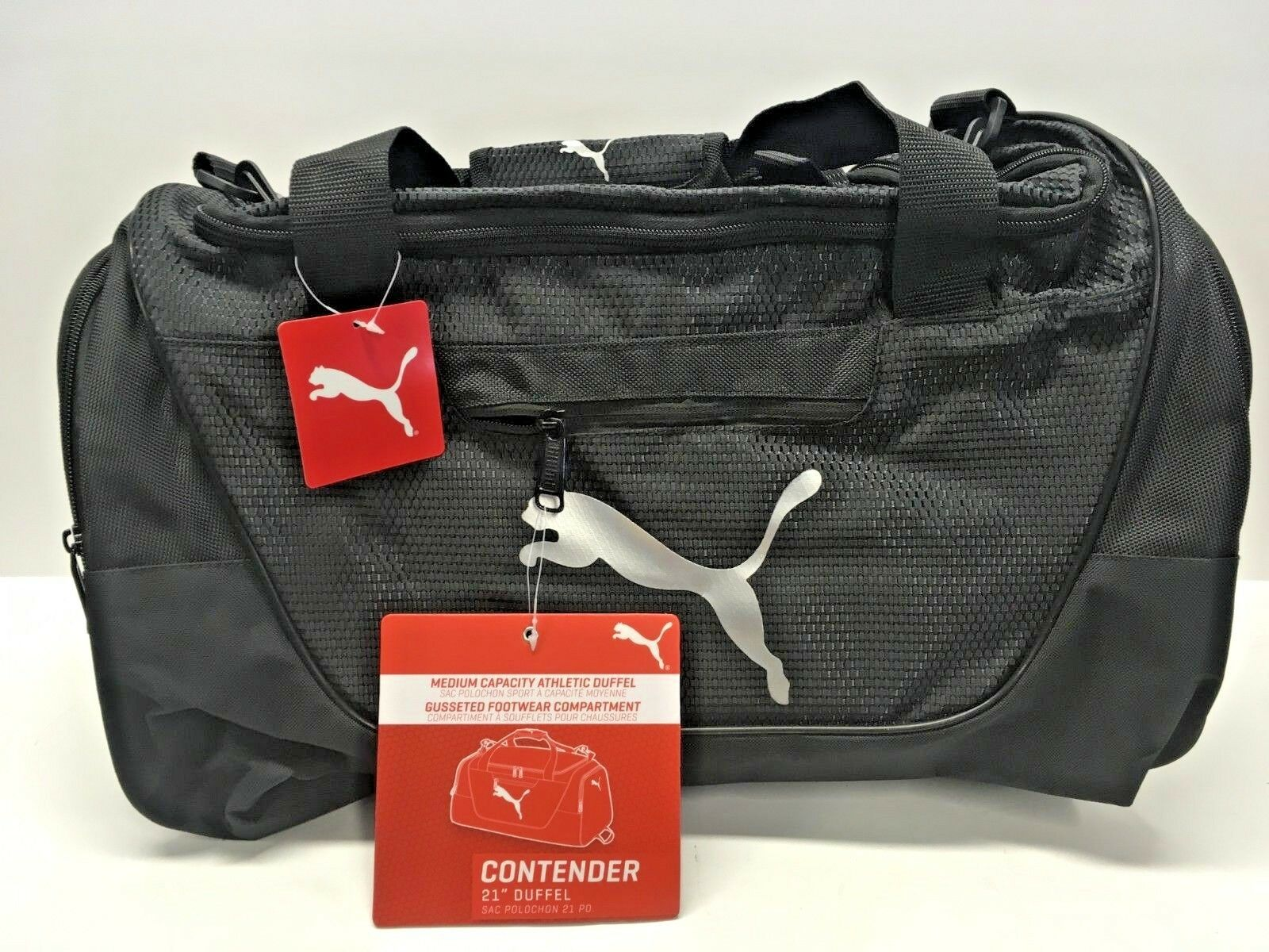 "NEW - PUMA Contender 21"" Duffel Bag BLACK With Silver Logo"