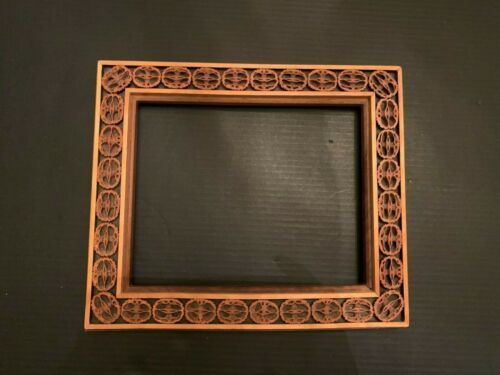 Vintage Folk Art Sliced Walnut Shell Wooden Frame