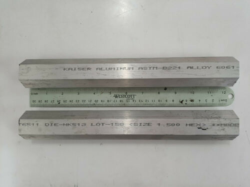 "2 pieces of HEX 1-1/2"" ALUMINUM 6061 HEX BAR 12"" Long T6511 SOLID LATHE STOCK"
