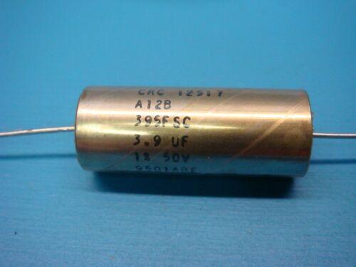(1) CRC A12B395FSC 3.9uF 50V 1% AXIAL CAPACITOR NOS