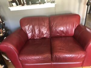 Lazy boy Red Leather sofa & love seat