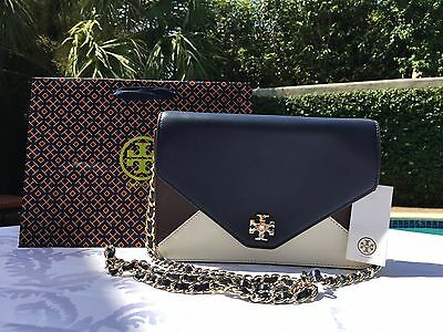 TORY BURCH KIRA COLOR BLOCK CLUTCH NEW IVORY/RAISIN/NAVY NWT $395 & GIFT BAG