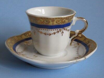Krone Miniatur Teetasse & Untertasse ~ Delikater,Blau und Gold ~ Moshis in ()