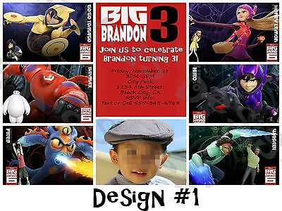 Big Hero 6 Personalized Birthday Party Invitations and Thank You Card - Diy Birthday Invitations