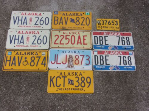 10 Alaska license plate lot for collecting or craft