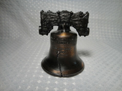 "Liberty Bell Metal Souvenir Mini Replica Bronze 3.5"""