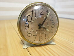 Vintage Westclox Wind-up Alarm Clock Small Metal Base White Gold Parts or Repair