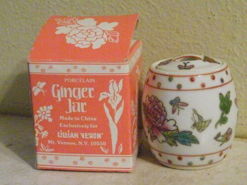 Vintage Lillian Vernon Ginger Jar Flower Butterfly Dragonfly   FREE SHIPPING
