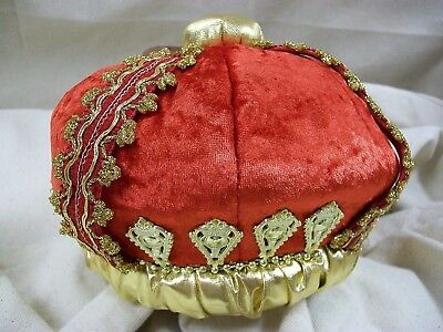 Royal Red & Gold Queen Crown Hat Her Red Majesty Your Highness King Adult or Kid