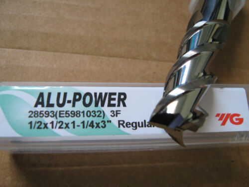 """1/2""""x1 1/4"""" LOCx 3""""OAL,ALU-POWER 3 Flute Carbide End Mill, YG-1 brand """"NEW"""""""