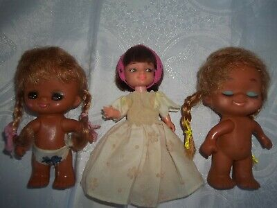 "Vintage 5"" Perfekta Doll & 2 HAWAIIAN DOLLS Hong kong"