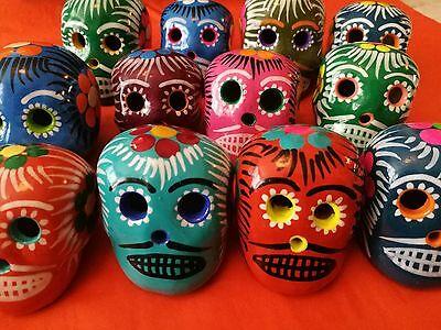 Authentic Mexican Folk Art Colourful Ceramic Day of the Dead Sugar Skull Small