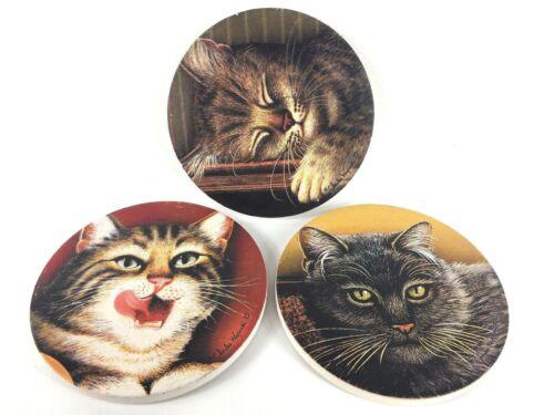"3 Cat Coasters - Charles Wysocki Ceramic and Cork 4 1/4"""