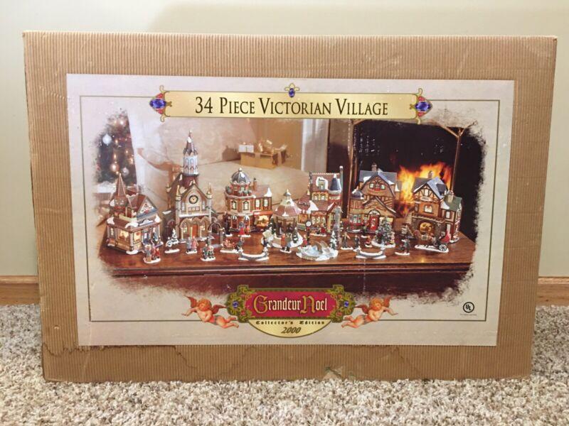 Pre-Owned/Used*Grandeur Noel 34 Piece Victorian Village Set*Complete/Damage